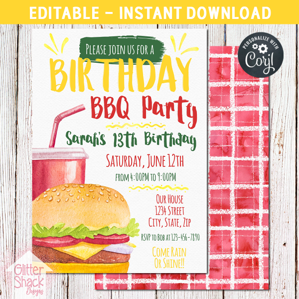 Printable BBQ Birthday Invitation