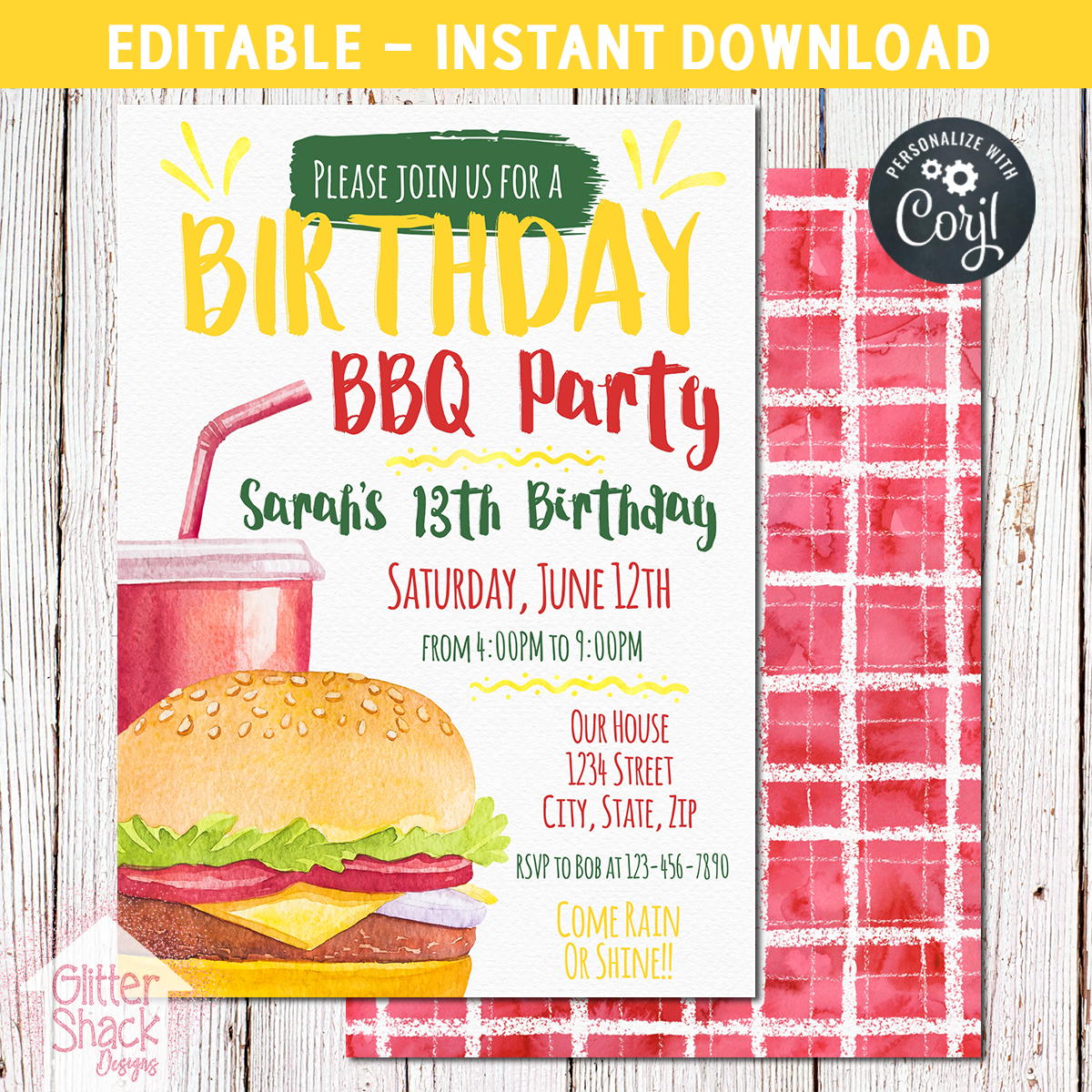 Printable bbq birthday invitation editable glitter n spice printable bbq birthday invitation stopboris Image collections