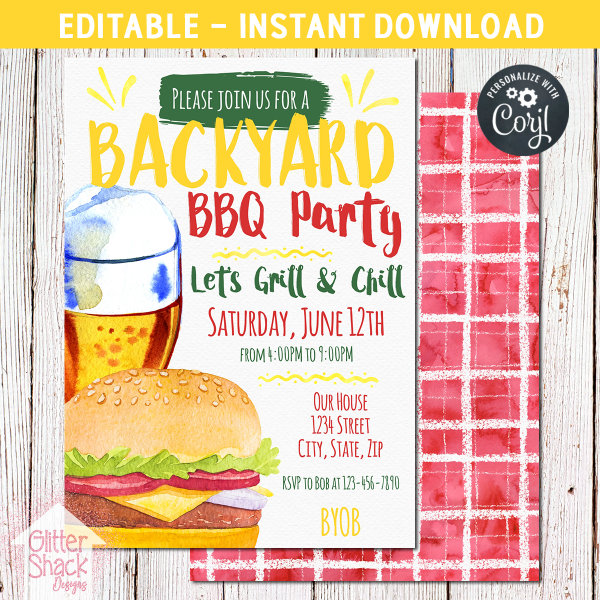 Printable Backyard BBQ Invitation