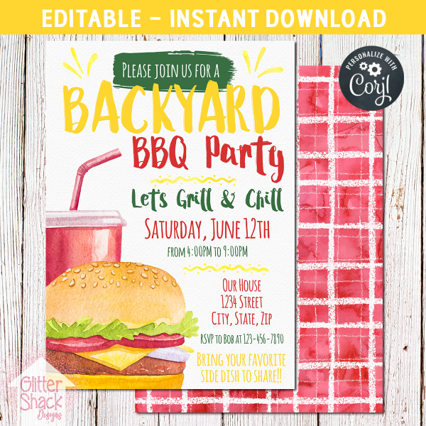 Printable Backyard BBQ Party Invitation
