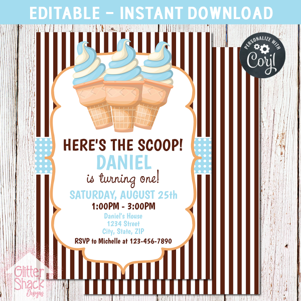 Printable Blue Ice Cream Birthday Invitation Editable