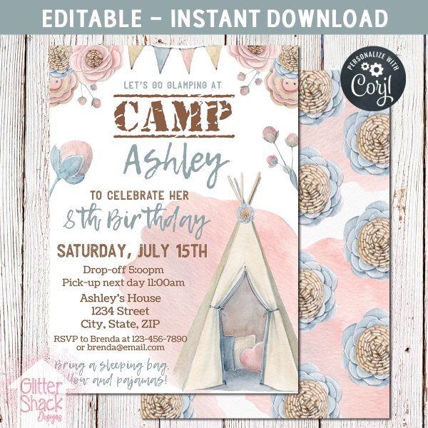 Printable Camping Glamping Birthday Invitation