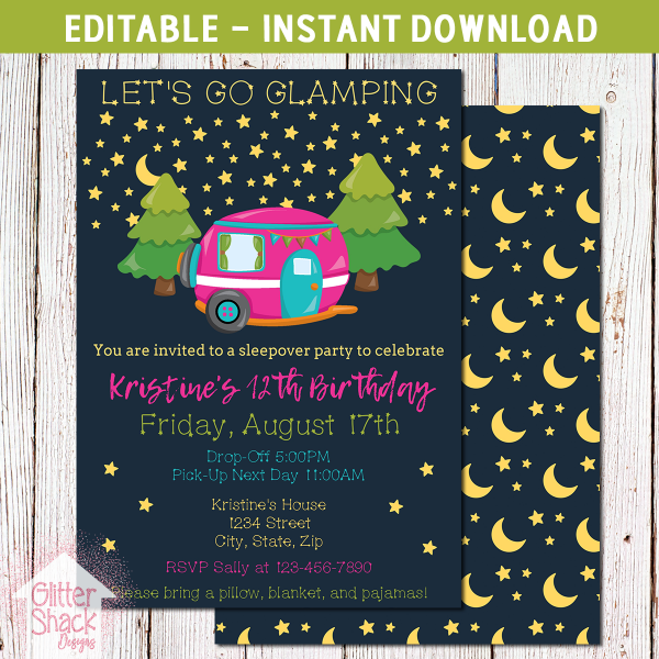 Printable Camping Glamping Birthday Party Invite