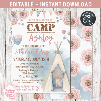 Glamping Sleepover Birthday Party Invitation