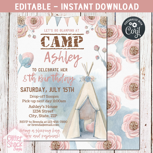 Printable Camping Glamping Party Invitation