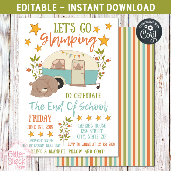 Printable End Of School Year Party Invitation, Editable