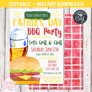 Printable Father's Day BBQ Party Invitation