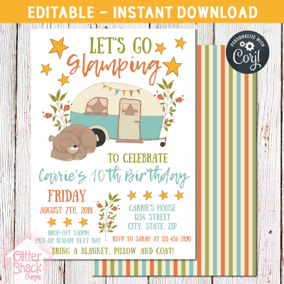 Glamping Birthday Invite
