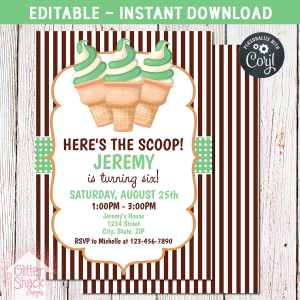 Printable Green Ice Cream Birthday Invitation, Editable