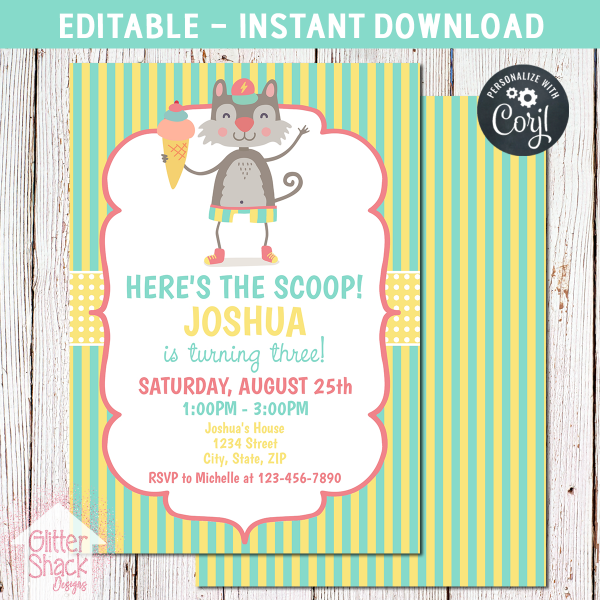 Printable Here's The Scoop Ice Cream Birthday Invitation, Editable