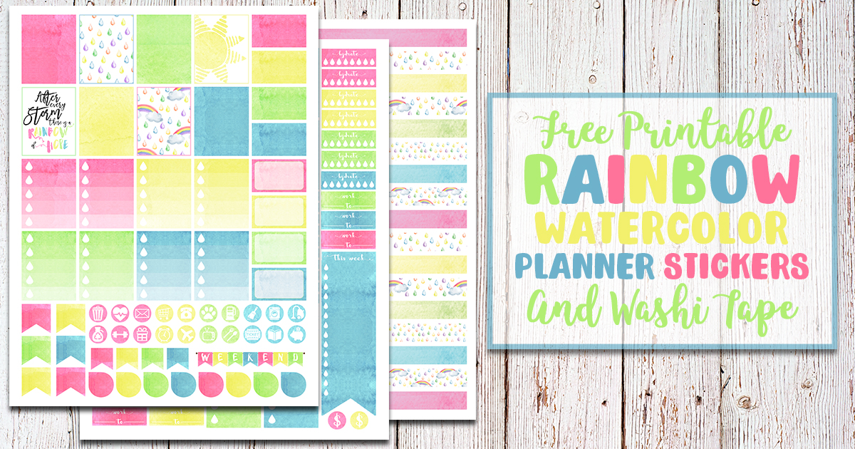 Rainbow Watercolor Free Printable Planner Stickers & Washi Tape