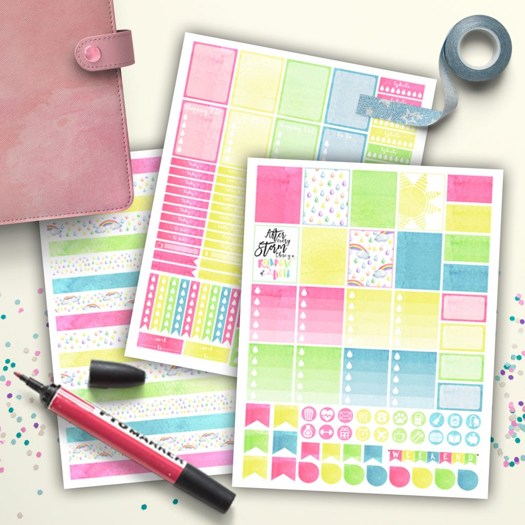 Pastel Rainbow Watercolor Free Printable Planner Stickers & Washi Tape