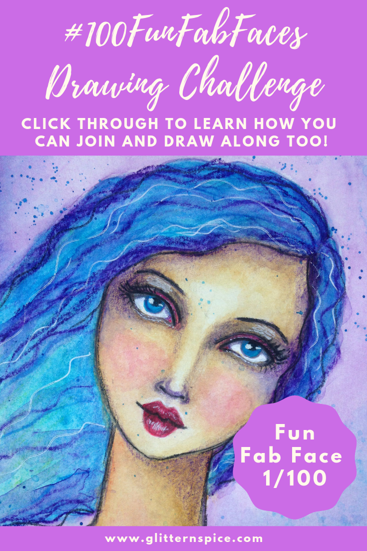 100 Fun Fab Faces Drawing Challenge Hosted By Karen Campbell - Artwork By Corrinna Johnson
