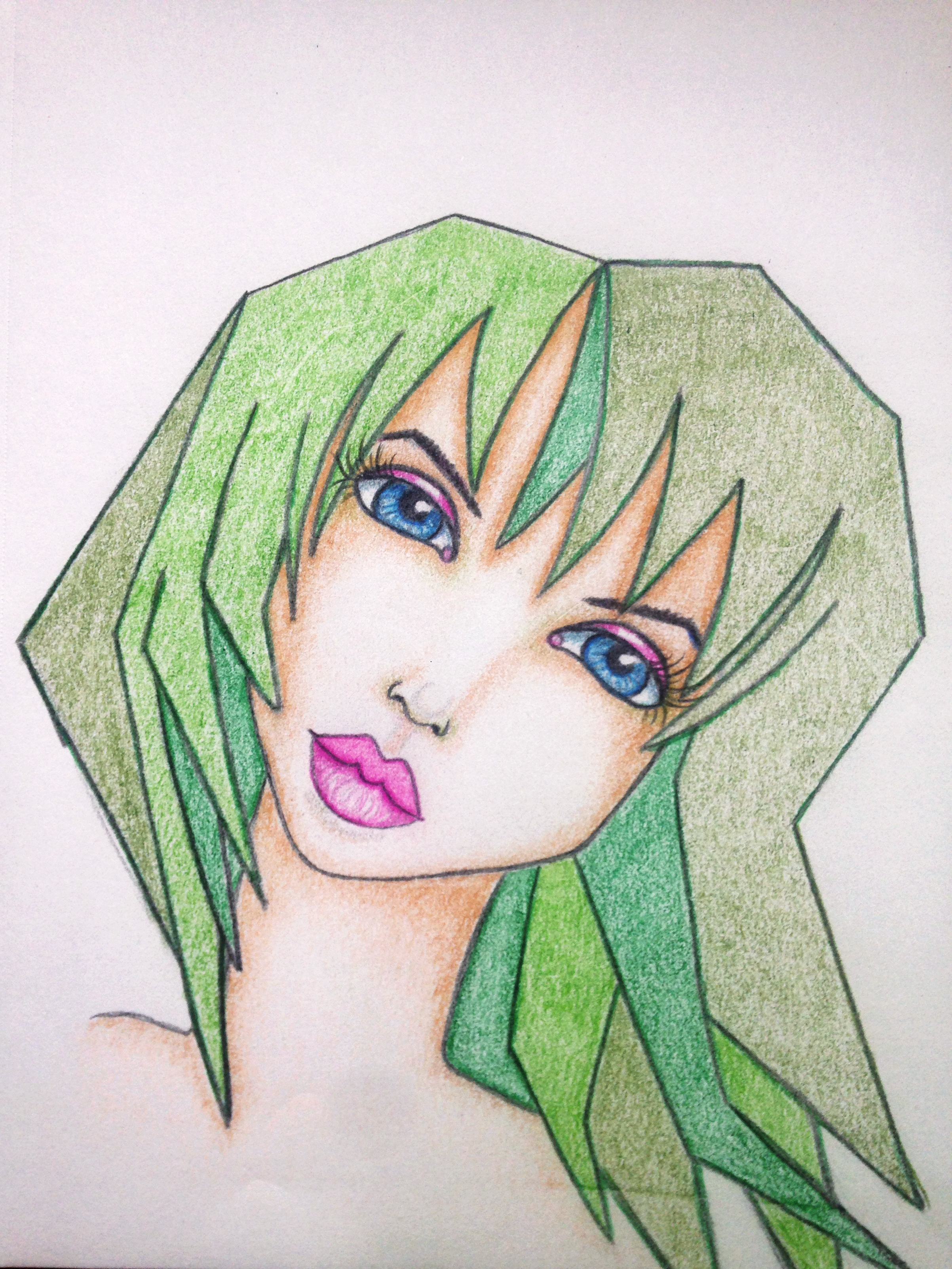 Fun Fab Face 2/100. Colored pencil drawing of cute girl with green spiky hair. Artwork By Corrinna Johnson. 100 Fun Fab Faces Drawing Challenge Hosted By Karen Campbell.