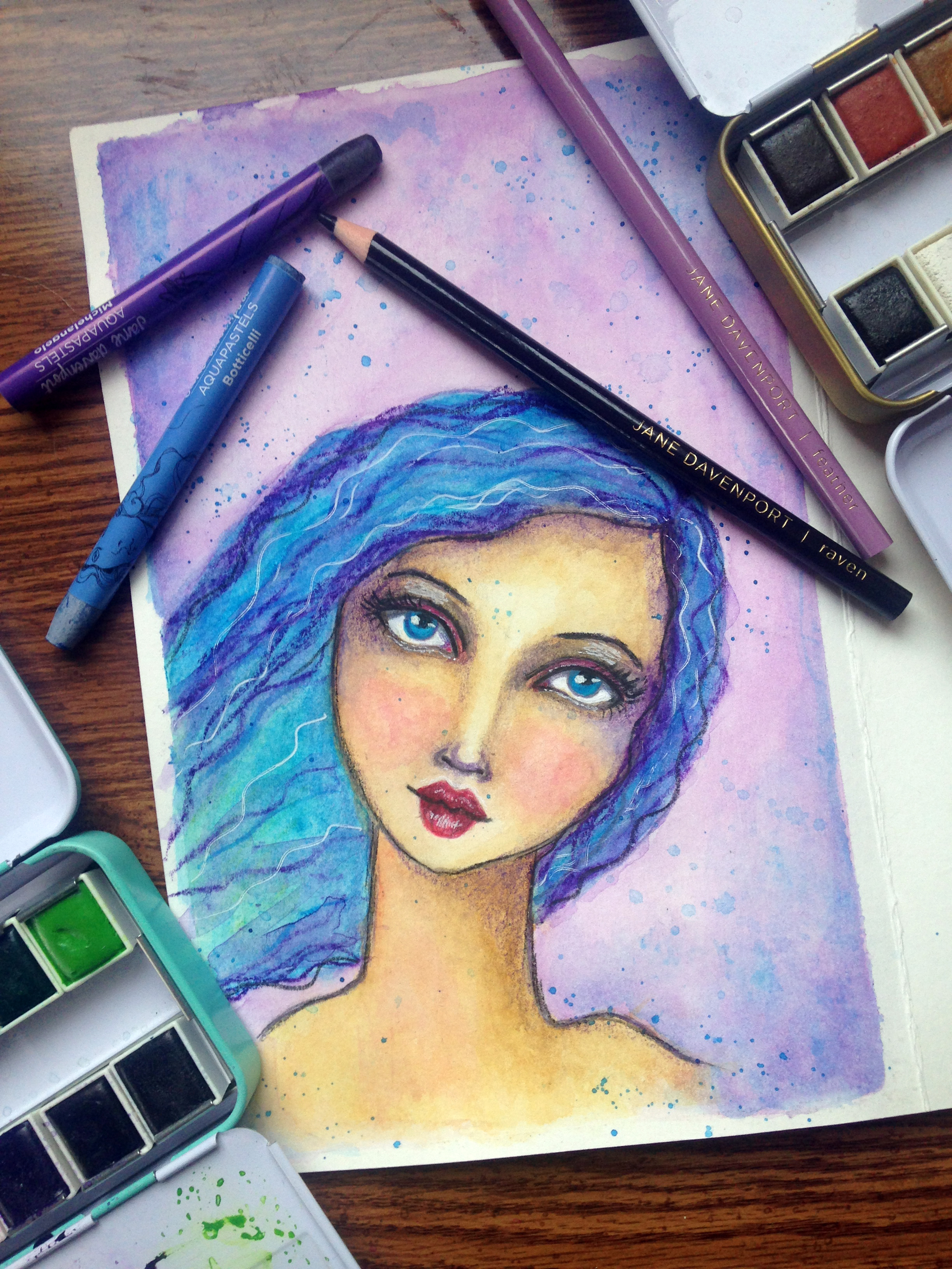 Fun Fab Face 1/100. Jane Davenport Inspired Blue-Haired Whimsical Girl Watercolor Painting. Artwork By Corrinna Johnson. 100 Fun Fab Faces Drawing Challenge Hosted By Karen Campbell.