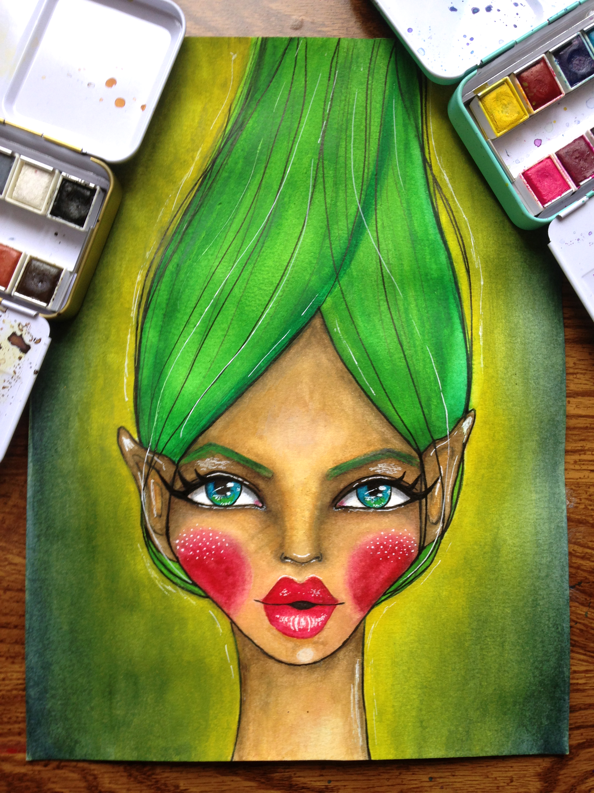 Fun Fab Face 3/100. Green-Haired Whimsical Fairy Watercolor Painting. Artwork By Corrinna Johnson. 100 Fun Fab Faces Drawing Challenge Hosted By Karen Campbell.