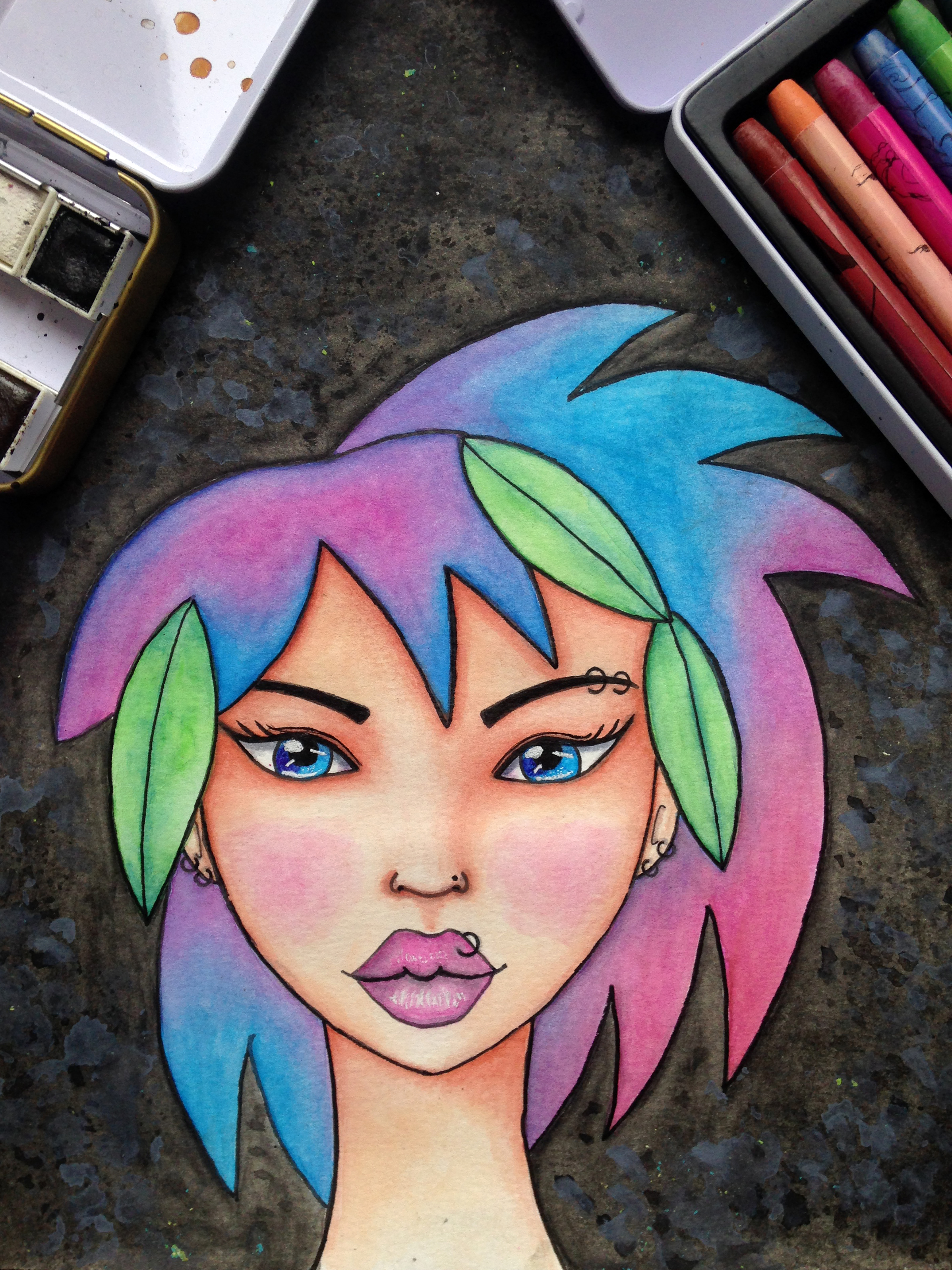 Fun Fab Face 4/100. Punk-Haired Girl With Facial Piercings. Artwork By Corrinna Johnson. 100 Fun Fab Faces Drawing Challenge Hosted By Karen Campbell.