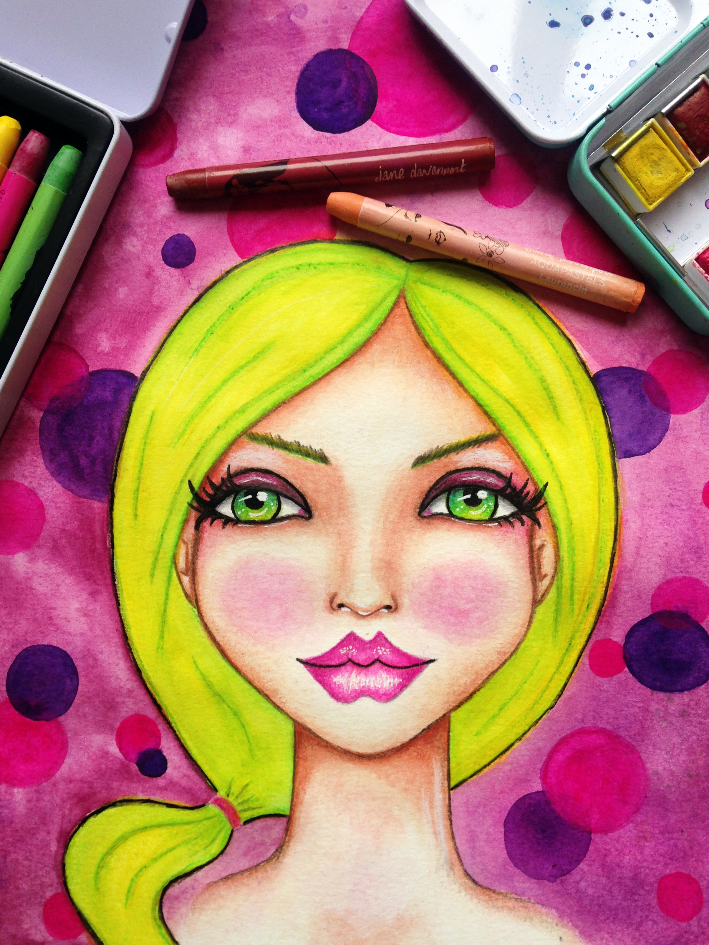 Fun Fab Face 5/100. Blonde hair, green-eyed whimsical girl surrounded by pink and purple bubbles. Artwork By Corrinna Johnson. 100 Fun Fab Faces Drawing Challenge Hosted By Karen Campbell.